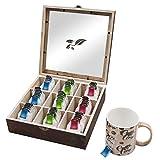 Teebox (9 Fächer) - 22 x 22 x 7cm Dunkle Bambus Holz Organizer Box mit Sichtfenster für Teebeuteln, Kaffeepads, Gewürzen, Kräutern