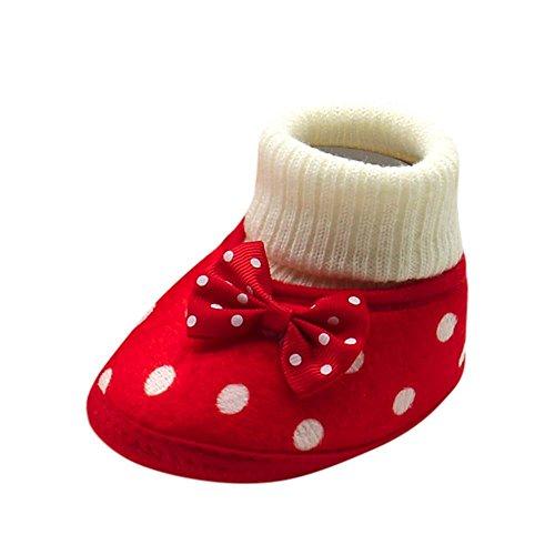 Trada Baby Schuhe Neugeborenes Mädchen Winter Warm Schuhe Erstlingsschuhe Niedlich Bowknot Heiß Weiche Sohle Krippe Schuhe Lauflernschuhe Stiefel (0-3 Monate Alt, Rot) (Stiefel Rabatt Mädchen Für)