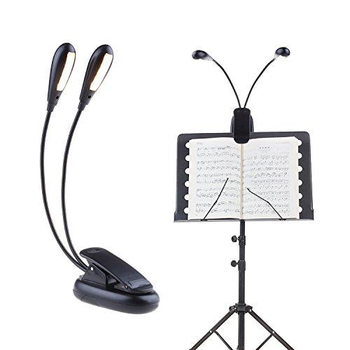 Warmweiß Notenpultleuchte Leselampe Klemmleuchte 5 Helligkeit Buchlampe Schreibtischlampe 10 Led Licht Beleuchtung USB und Batteriebetrieben für Musikinstrumente DJ-Equipment Nachttischlampen Laptopbeleuchtung