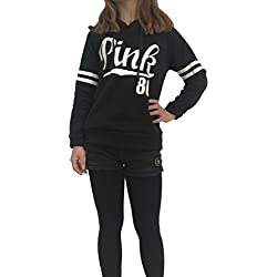 hqclothingbox Womens Teens Chic Drawstring Long Sleeve Hooded Sweatshirt