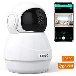 Caméra de Surveillance AKASO Caméra IP dôme sans Fil WiFi Intérieure 1080P HD 360° 3D Détection de Vision Nocturne Alarme Détection de Mouvement Audio Bidirectionnel Sécurité de Bébé Maison Animaux