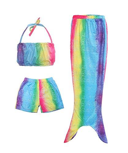 ReliBeauty Mädchen Badeanzug Bikini Set Swimsuit Bademode Prinzessin Meerjungfrau Kleid Kostüm Wassersport Badebekleidung, Welle&Regenbogen, 122