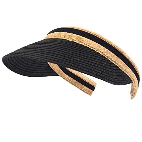 Damen Golf Visier Strand Stroh Sonnenhut Visoren Hüte (Schwarz)