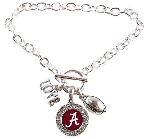 alabama-crimson-tide-multi-charm-love-footballl-rosso-argento-braccialetto-gioielli-ua