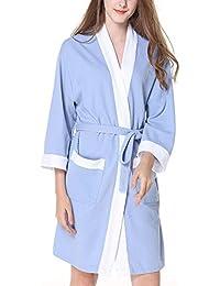 Pijamas de Algodón Waffel de Manga Larga para Mujeres Elegantes Pijamas de Dormir Camisón Batas de
