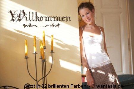 XL Wandtattoo Wohnzimmer, Eingang/ Flur ~ Text: WILLKOMMEN, altdeutsch, Sprüche ~ 620008-120x40 cm,...