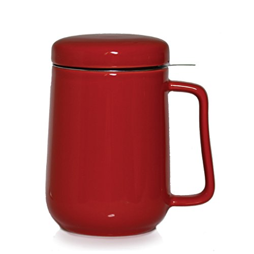 Tea Tealyra Ceramic Mug-Tazza da tè in ceramica, w/Stainless Steel infusore & Lid, 400 ml rosso