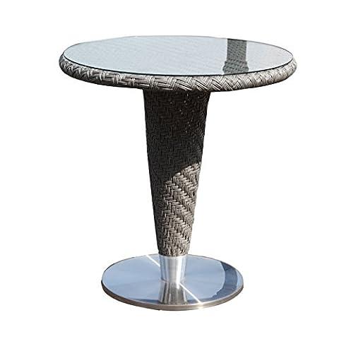 Oasis Rattan and Glass Round Pedestal Table - Rattan Garden Table 70cm Diameter - Pedestal Patio Bistro