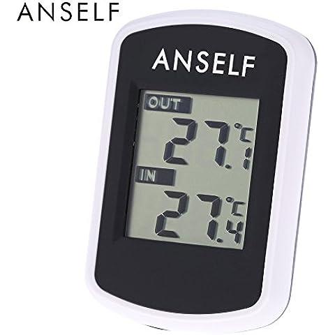Anself TS04 - Reloj Termómetro Digital Medidor de Temperatura Exterior Interior (Inalámbrico,LCD