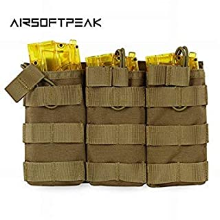 primetraders Olive Drab : AIRSOFTPEAK Tactical Molle Triple Magazine Pouch Open Top Vest Accessory Bag Combat Gear Mag Holster Paintball Equipment