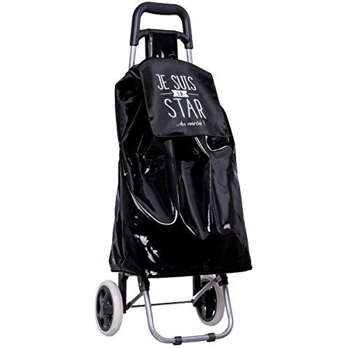 Promobo - Chariot De Courses Shopping A Roulettes Collection Fun Je Suis La Star Noir