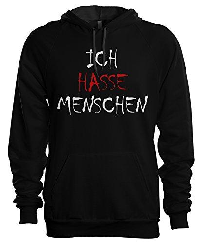Ich hasse Menschen Hoodie Kapuzenpoullover Geschenk für Männer Large Schwarz (Pullover Hoodie Vatertag)