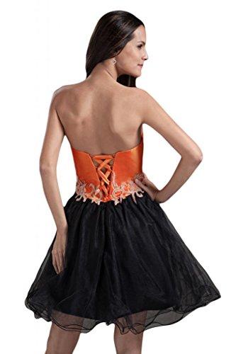 Sunvary paillette notte applicate in taffetà abito Homecoming una linea di cuore Arancione e nero