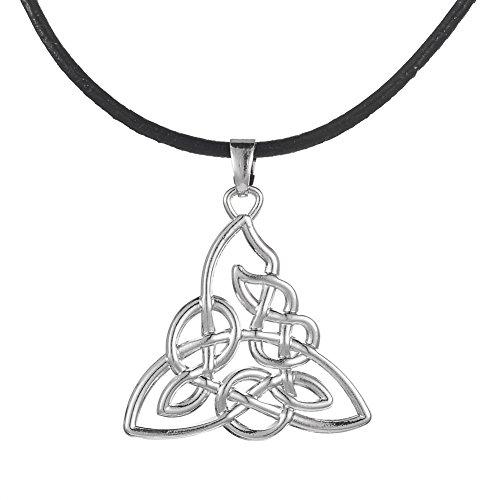 Skyrim Wiccan Religiosa Pagan Knotwork Triquetra Colgante Collar Joyas para Hombres y Mujeres