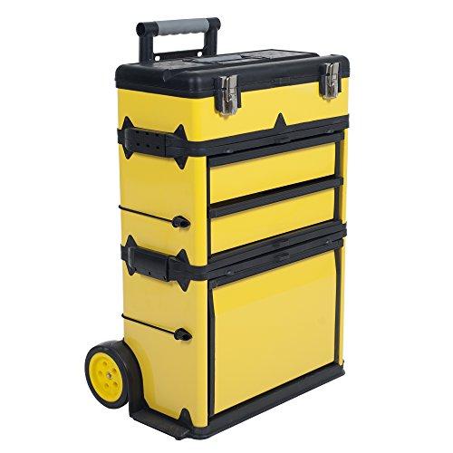 Stalwart 75-mj2096Rolling carrito de apilamiento portátil Metal caja de herramientas en el pecho