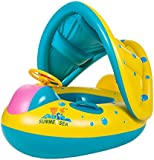DINGANG® Inflatable Swimming Baby-swim Float Ring Swim Pool Bath Boat Safety with Canopy Yellow