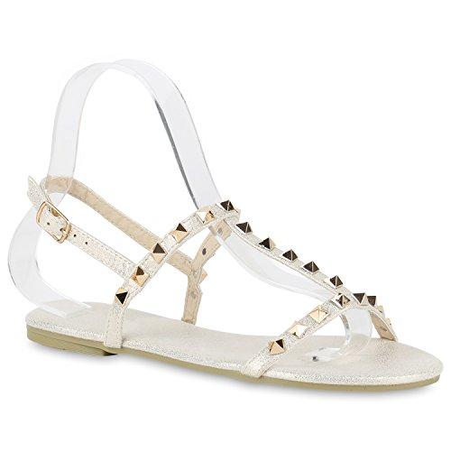 Sandálias Flats Das Mulheres Rebites Brilhante Sandálias De Tiras Extravagante Casamento Sapatos De Festa Abiball Metálico Creme