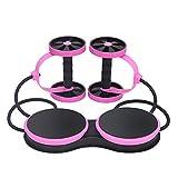 KUXLL Multifunktionale Muskeltrainier-Ausrüstung Home Fitness Doppel Abdominal Power Wheel Ab Roller Gym Roller Trainer,Pink