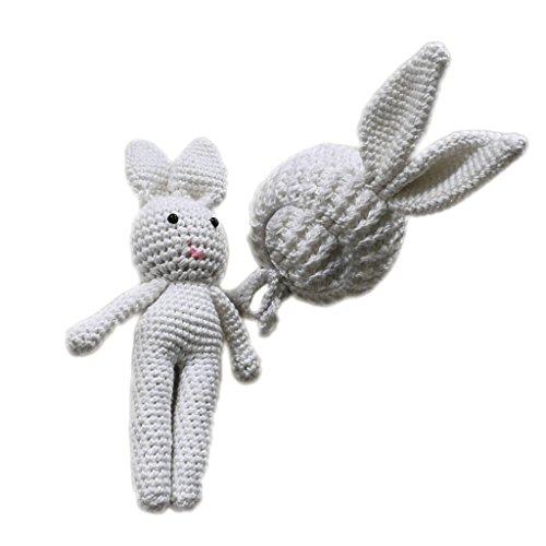 Sharplace Baby Jungen Mädchen Fotografie Stützen Strickmütze Kostüm Hut Hat Outfits Kaninchen Hasen Spielzeug Kostüm Fotoshooting Geschenk Se - Weiß, wie beschrieben