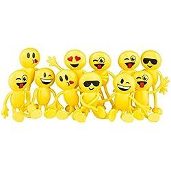 Newin Star Emoji - Juego de juguetes divertidos para fiestas, diseño de emoticono sonriente de 11,4 cm, 12 unidades