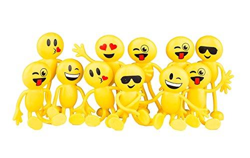 Emoji-Partyzubehör Fun Toys 1 Dutzend 11,4 cm Emoji Smiley Emoticon biegbare Figuren 12 Stück