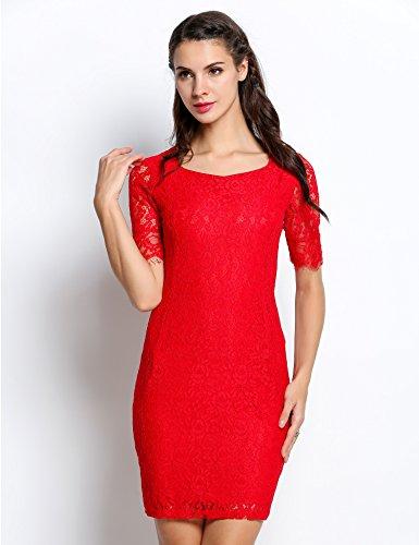 Teamyy Damen Kleid Dress Cocktailkleid Partykleid Kurzarm Spitze Häkelarbeit Vintage Bodycon Rot