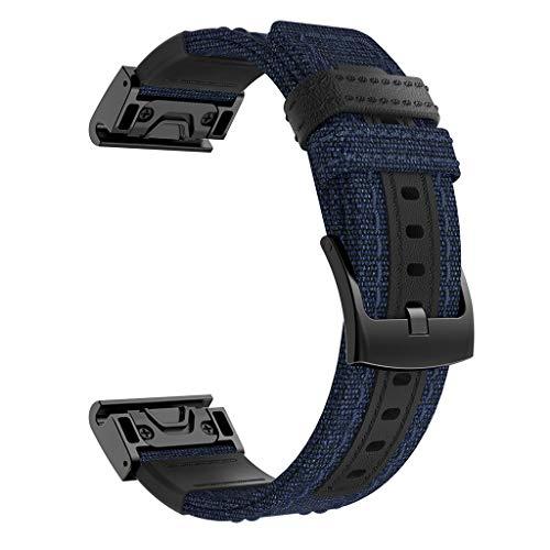 Feinny Lederband Ersatzband/Aufschnappbares Gewebtes Schweiß Absorbierendes Nylonband/Für Garmin Fenix 5/5 Plus Forerunner 935/Blau