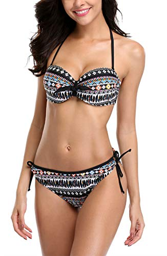 V FOR CITY Damen Bikini Set Mit Bügel Und Schalen Cups Push Up Bikini Tribal Serie M (Bügel-bikini)