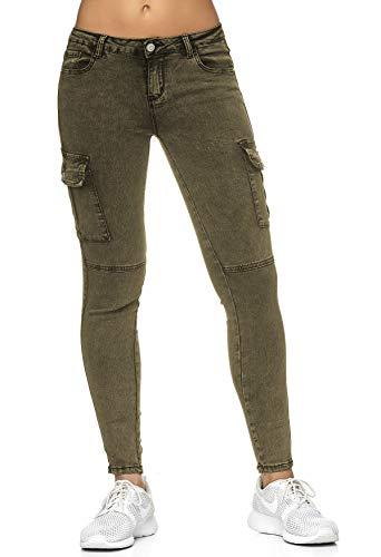 EGOMAXX Damen Treggings Cargo Stretch Skinny Jeans Hose Denim Röhrenjeans, Farben:Dunkelgrün, Größe Damen:36 / S Carter Jeans