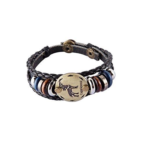 NovaLuna Retro Sternzeichen Armband aus Braunem Kunstleder in Wickeloptik 'Golden Zodiac' mit Druckknopf-Verschluss - Herren Damen Unisex Armband Accessoire Schmuck in GOLD STEINBOCK