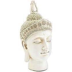 Lesser & Pavey–Adorno de cabeza de Buda, color crema, tamaño mediano