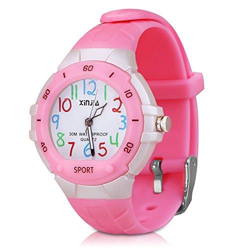 Kinderuhr Armbanduhr Analog für Junge - XREXS Lernuhren Mädchenuhr Zeitlehrer Quarz Sportuhren Jungen Mädchen Analog Uhren für Jungen und Mädchen Kleines Kind (Rosa)