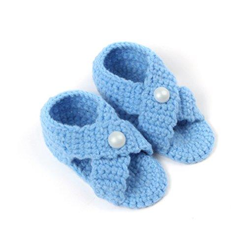 Bigood 1 Paar Strickschuh One Size Strick Schuh Baby Unisex süße Muster 11cm Grün C Blau A