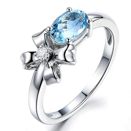 SonMo Ring 925 Silber Trauringe Paarringe Eheringe Silber Schleife Poliert Ring Solitär Hellblau Topas Ovalschliff Ring Damen Zirkonia 50 (15.9)