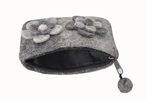 Feltro grigio scuro montato con la borsa fiore moneta del regalo degli accessori grigio