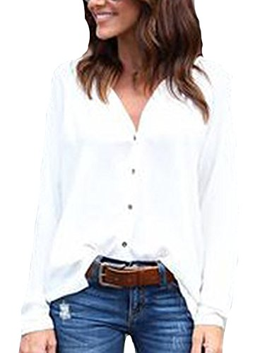 Junshan Femmes Tops à Manches Longues Jumper Blouse Tops V-Col Chemise à Manches Longues Veste Top Blouse Blanc