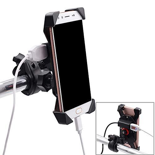 Fankr Motorrad-Handyhalterung Mit Ladegerät 12V 2A USB-Anschluss Schnellladung Einstellbar Wasserdicht Am Lenker Installieren Spiegelstange, Handyhalter Anzug Für Alle 3.5