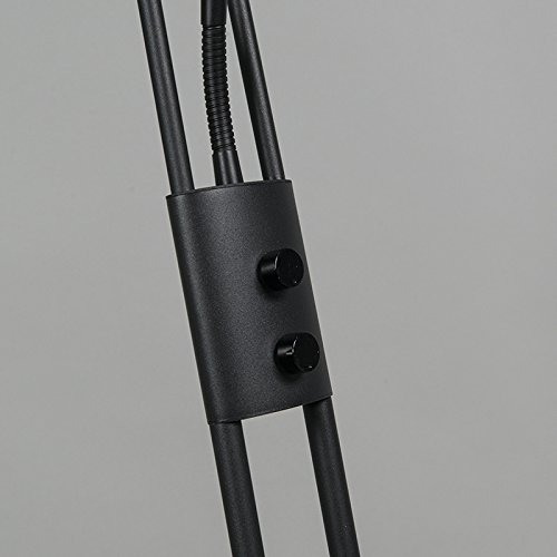 QAZQA Modern Stehleuchte / Stehlampe / Standleuchte / Lampe / Leuchte Divine schwarz Dimmer / Dimmbar / Innenbeleuchtung / Wohnzimmer / Schlafzimmer / Deckenfluter Metall Rund / Länglich / inklusive L - 8