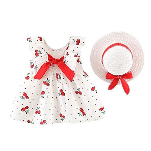squarex  Sommer Mädchen ärmelloses Kleid Kleinkind Dot Rock Baby Prinzessin Kleider Kinder Bow Kleid Casual Rock Hut Outfits bequem (Junioren Weißen Socken)