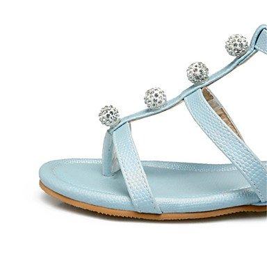 LvYuan Sandalen-Kleid Lässig Party & Festivität-maßgeschneiderte Werkstoffe Kunstleder-Flacher Absatz-Komfort Neuheit-Blau Rosa Weiß White