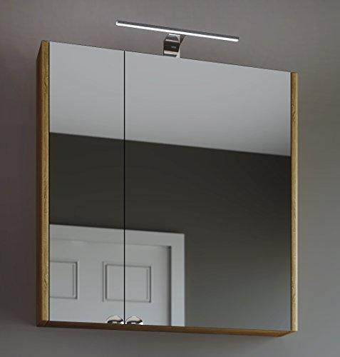 Planetmöbel Spiegelschrank Badezimmer WC Badezimmerschrank 64cm breit (Sonoma Eiche) -