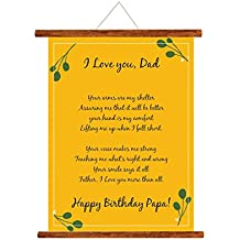 YaYa cafe Fathers Day Greeting Cards Happy Birthday Papa Love You Dad Message Scroll Card for Dad Wall Hanging Decor | Dad Birthday Gifts - 15x20 inches