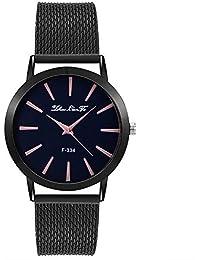 DIPOLA Reloj de Cuarzo de Acero Inoxidable con Correa de Silicona de Lujo para Mujer_Negro