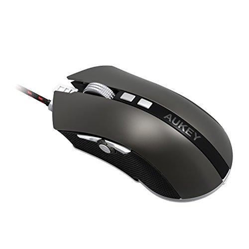 AUKEY Mouse da Gioco con Switch Omron, 8 Pulsanti Programmabili, 4 Livelli Regolabili di DPI e Mouse Ottico RGB con Pesi Opzionali per Computer e Portatili