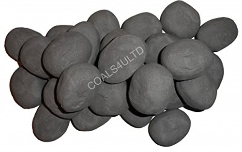20 Grey Ceramic Pebbles For Bio Ethanol and Gas Fireplaces In Branded Coals 4 You Packaging, Black