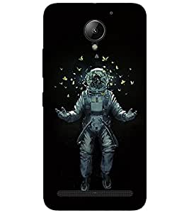 Takkloo black background astronaut,butterfly flying, yellow butterflies, man in space) Printed Designer Back Case Cover for Lenovo C2