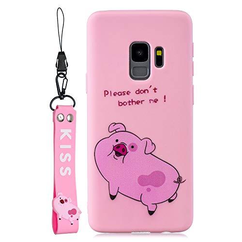 Preisvergleich Produktbild Jorisa Niedlich Weich Silikon Hülle für Samsung Galaxy S9 Plus, Süß Karikatur Tier Muster Handyhülle mit Handschlaufe, Ultra Dünn Leicht Flexibel TPU Bumper Schutzhülle-Rosa Schwein