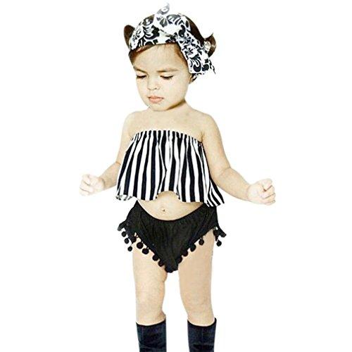JYJM Aus Schulter Kleinkind Baby Stripe Top + Short + Stirnband Set Outfit Kleidung (Size:2 Jahre, Schwarz) (Short Summer Stripe)