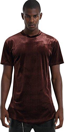 Pizoff Unisex Hip Hop lang geschnittener Samt T-Shirt aus Velours mit seitlichen Reißverschlüssen abgerundeter Saum Y1520-Brown-M (Vintage-college-fußball-trikots)