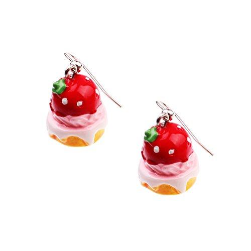 (Snykk Kuchen-Ohrringe - 2 Stück – Erdbeerkuchen)